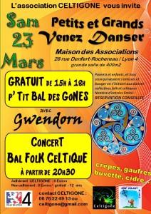 23 mars 2013 - Affiche Celtigone - Concert Bal Folk Celtique